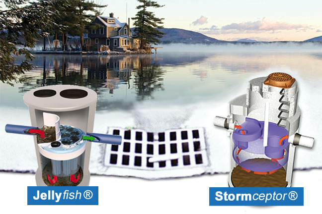 Stormceptor® and Jellyfish® filter unit draining storm water
